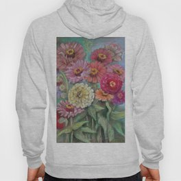Autumn FLOWERS in the garden Still Life Pastel drawing Pink Purple Decorative Painting Hoody