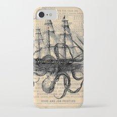 Octopus Kraken attacking Ship Antique Almanac Paper iPhone 7 Slim Case