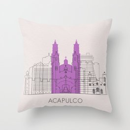 Acapulco Landmarks Poster Throw Pillow
