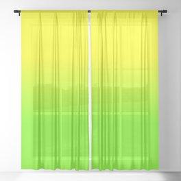 Neon Yellow and Neon Yello Green Ombré  Shade Color Fade Sheer Curtain