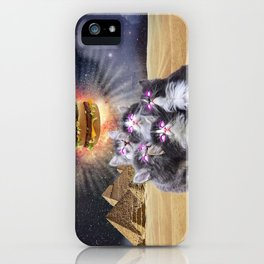 space cats looking for the burger iPhone Case