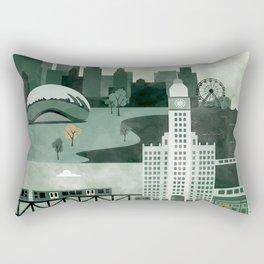 Chicago Travel Poster Illustration Rectangular Pillow