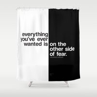fear Shower Curtains featuring Fear by MLauxDesign