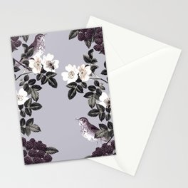 Birds and the Bees Blue Gray Stationery Cards