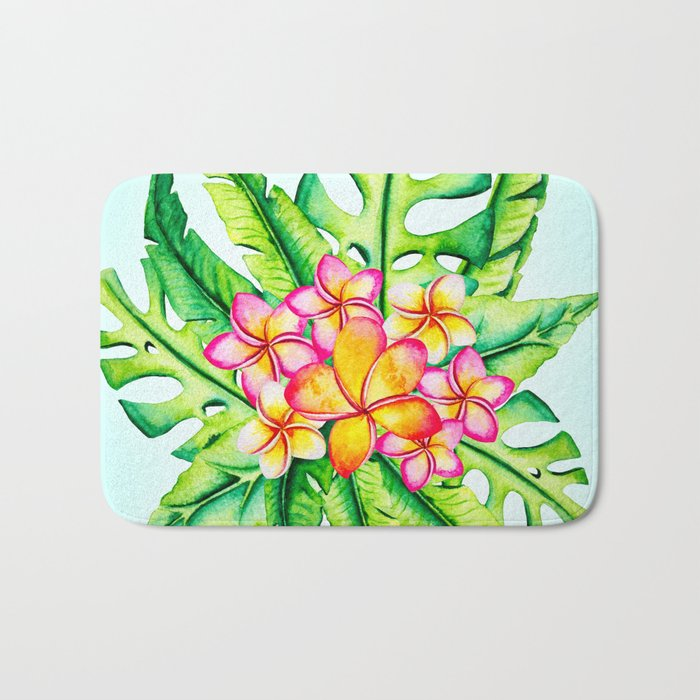 Bright Tropical Flower Bouquet Bath Mat by context | Society6
