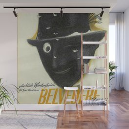 Rare WWII Issue Hotel Belvedere, Davos, Switzerland Advertising Poster Wall Mural