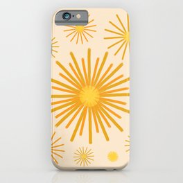 Abstract Hand-painted Golden Fireworks, Vintage Festive Pattern with Beautiful Acrylic Texture, Gold and Light Beige Color iPhone Case