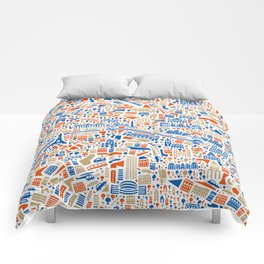Paris City Map Poster Comforters