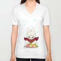 macaron V-neck T-shirts featuring Macaron Time by Timid Arts