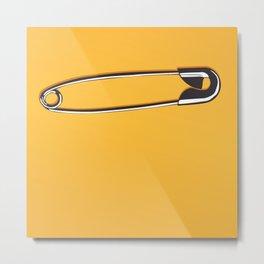Safety Pin on Orange Metal Print