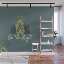 BE THE LIGHT colorful lantern positive Christian quote Wall Mural