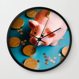 Piggy Bank On The Background With The Chocoladen Coins Wall Clock