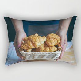 Croissant in a wicker basket Rectangular Pillow