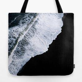 Waves crashing on a black sand beach – minimalist Landscape Photography Tote Bag