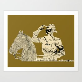 Vintage Made Modern: Canadian Mountie and Radium Trail Map Art Print
