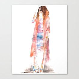Bohemian street style girl with scarf kimono and sunnies Canvas Print
