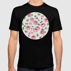 Painted Pink Ranunculus Pattern MEDIUM Mens Fitted Tee Black