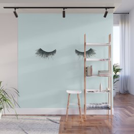 Dramatic dreaming in blue  \\ lashes, closed eyes, sleeping design for bedroom Wall Mural