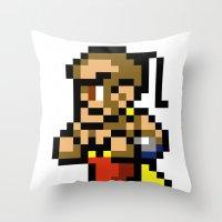 final fantasy Throw Pillows featuring Final Fantasy II - Yang by Nerd Stuff