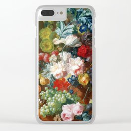 Fruit and Flowers in a Terracotta Vase by Jan van Os Clear iPhone Case