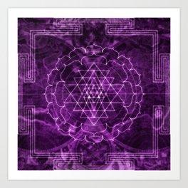 Mandala Purple Magic Spiritual Zen Bohemian Hippie Yoga Mantra Meditation Art Print