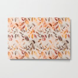 Autumn Feathers watercolor pattern Metal Print