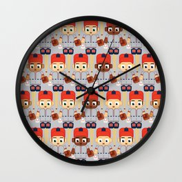 Baseball Orange and Grey - Super cute sports stars Wall Clock