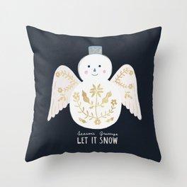 Holiday Flower Snowman Throw Pillow