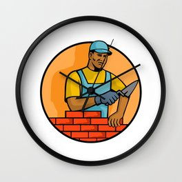African American Bricklayer Mascot Wall Clock
