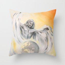 Guardian Angel World Peace - Handpainted Angel Art Throw Pillow