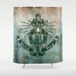 Wild and Free Motorbike Rider Shower Curtain