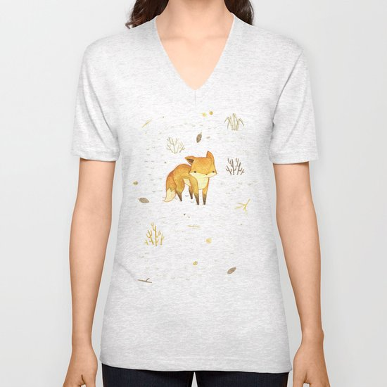 Lonely Winter Fox Unisex V-Neck