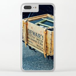 Whiskey box on a vintage car side board Clear iPhone Case