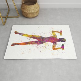 Woman practicing fitness in watercolor 07 Rug