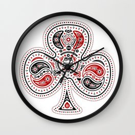 83 Drops - Clubs (Red & Black) Wall Clock