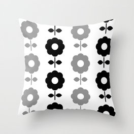 Floral Seamless Pattern with Black and White Flowers Throw Pillow