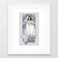 theatre Framed Art Prints featuring Theatre de la Labyrinth v2 by Karen Hallion Illustrations