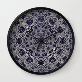 Cream Colored Mandala in Dark Blue Background Wall Clock