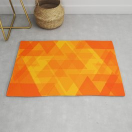 Bright orange and yellow triangles in the intersection and overlay. Rug