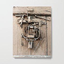 Old Wooden Door With Working Tools Sculpture (Sepia) Metal Print