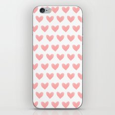 Coral Pink Watercolor Hearts iPhone & iPod Skin