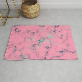 Cotton Candy Pink & Mint Marble Rug