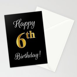 """Elegant """"Happy 6th Birthday!"""" With Faux/Imitation Gold-Inspired Color Pattern Number (on Black) Stationery Cards"""