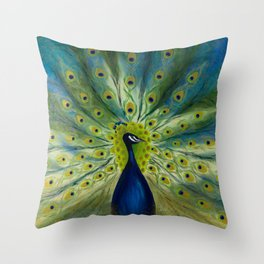 MONSIEUR PEACOCK Throw Pillow