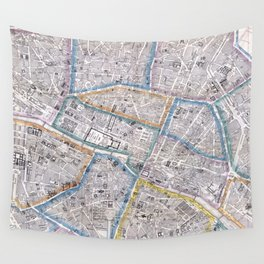 Vintage Map of Paris (1865) Wall Tapestry