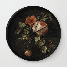 Elias van den Broeck - Still life with roses - 1670-1708 Wall Clock
