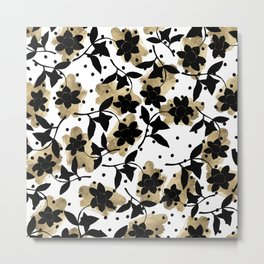Modern abstract black  gold brushstrokes dots floral Metal Print