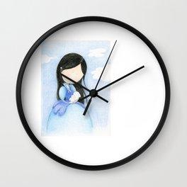 Blue girl with rabbit | watercolor children art Wall Clock