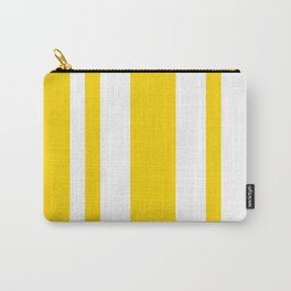 Mixed Vertical Stripes - White and Gold Yellow Carry-All Pouch