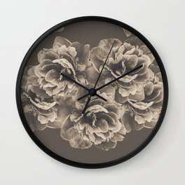 Sepia Peony Flower Bouquet #1 #floral #decor #art #society6 Wall Clock